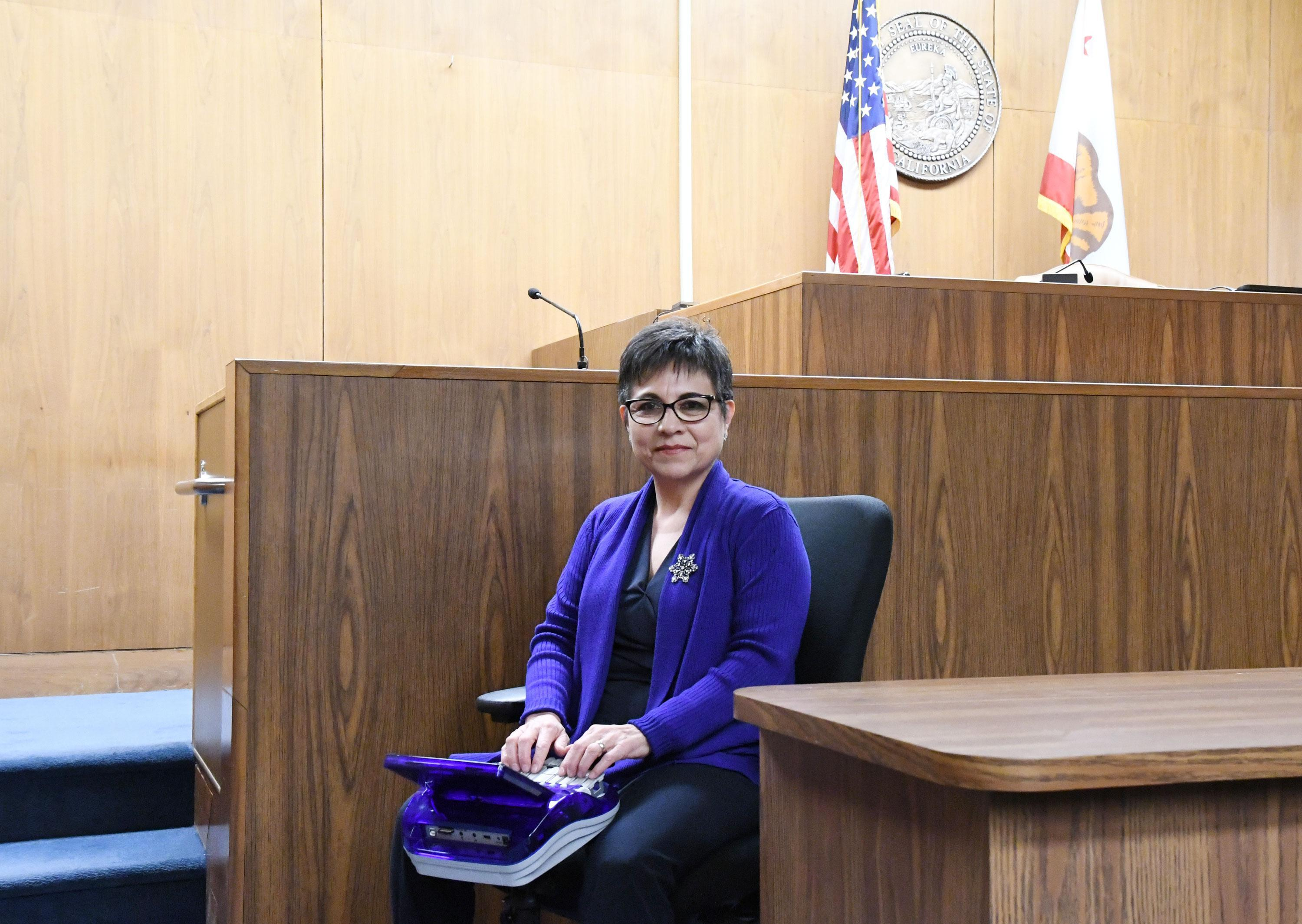 AFSCME Local 10 member Florence Ortiz, an official court reporter for the Stanislaus County Superior Court